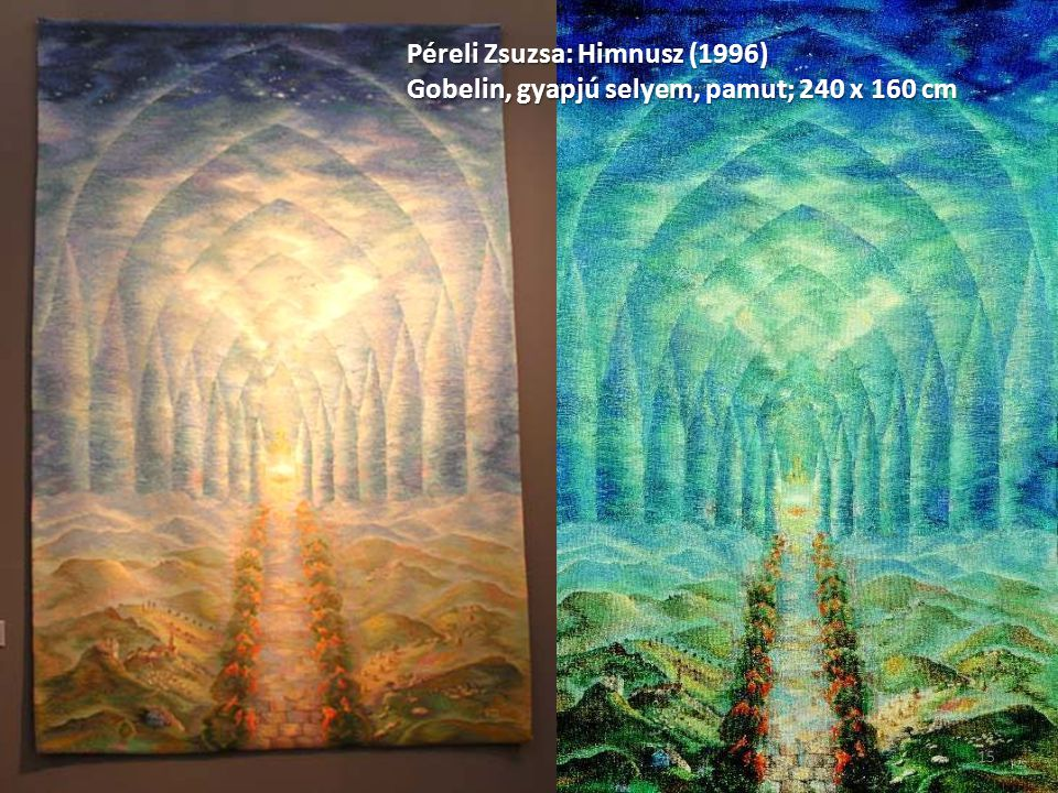 Péreli Zsuzsa: Himnusz (1996) Gobelin, gyapjú selyem, pamut; 240 x 160 cm