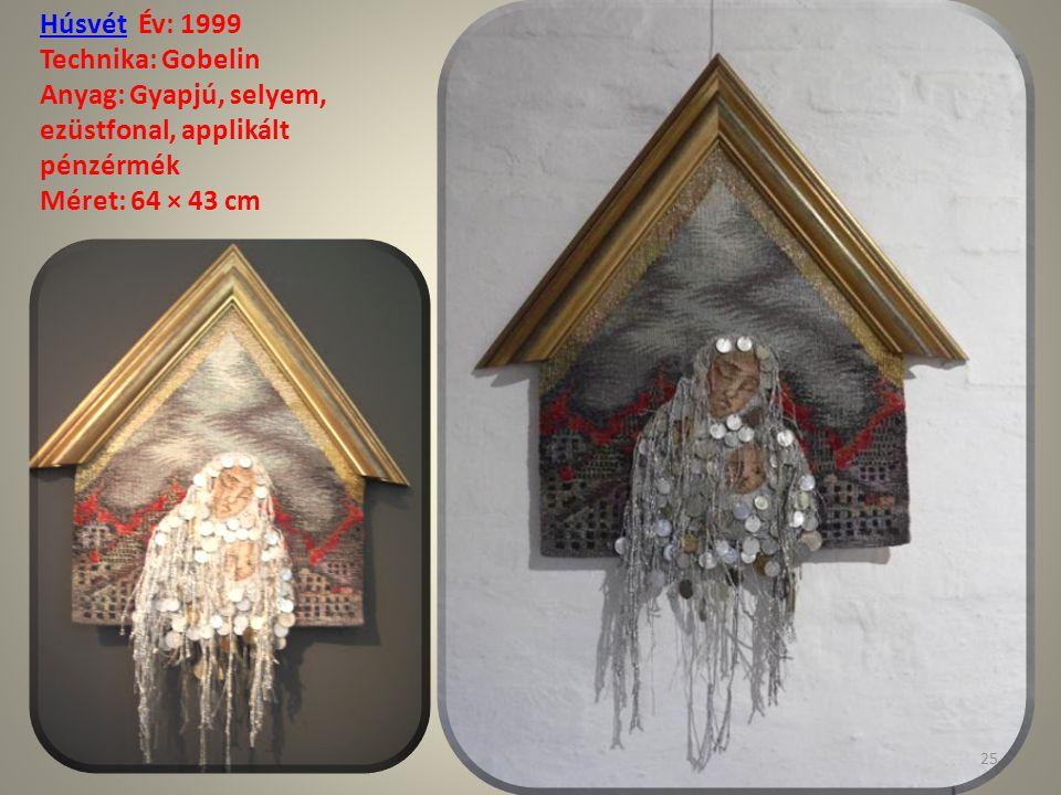 Húsvét Év: 1999 Technika: Gobelin. Anyag: Gyapjú, selyem, ezüstfonal, applikált pénzérmék.