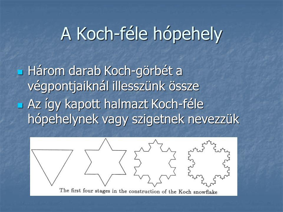 A Koch-féle hópehely Három darab Koch-görbét a végpontjaiknál illesszünk össze.