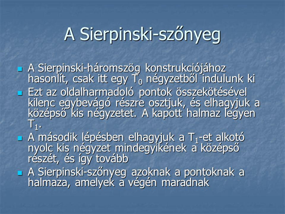 A Sierpinski-szőnyeg A Sierpinski-háromszög konstrukciójához hasonlít, csak itt egy T0 négyzetből indulunk ki.