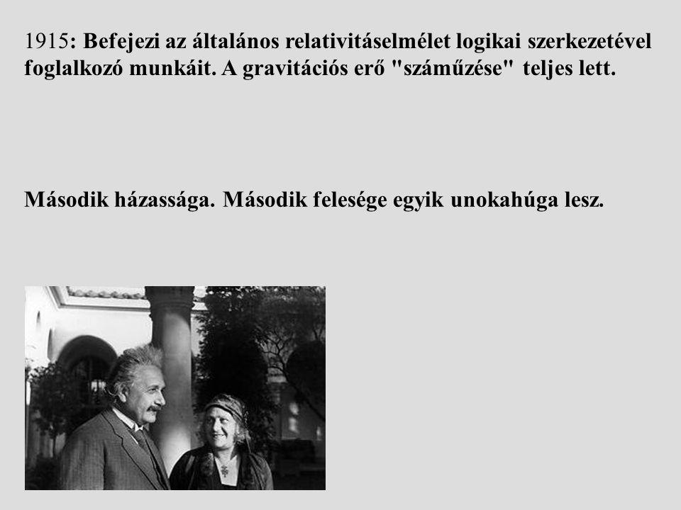 1915: Befejezi az általános relativitáselmélet logikai szerkezetével foglalkozó munkáit. A gravitációs erő száműzése teljes lett.
