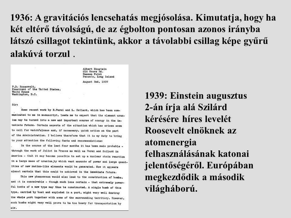1936: A gravitációs lencsehatás megjósolása