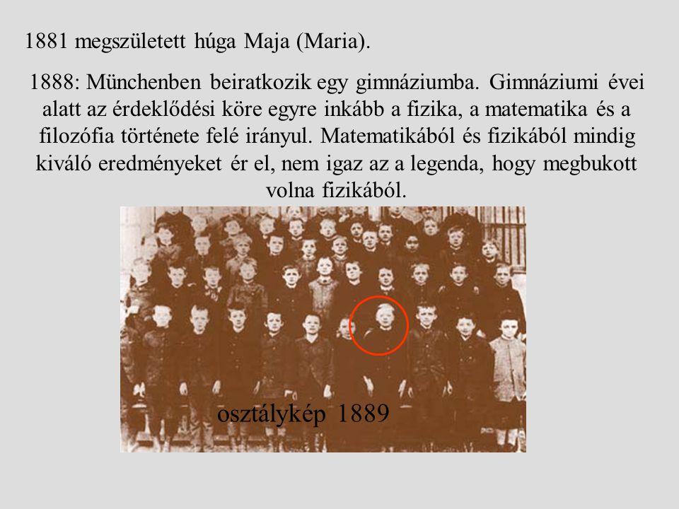 osztálykép 1889 1881 megszületett húga Maja (Maria).