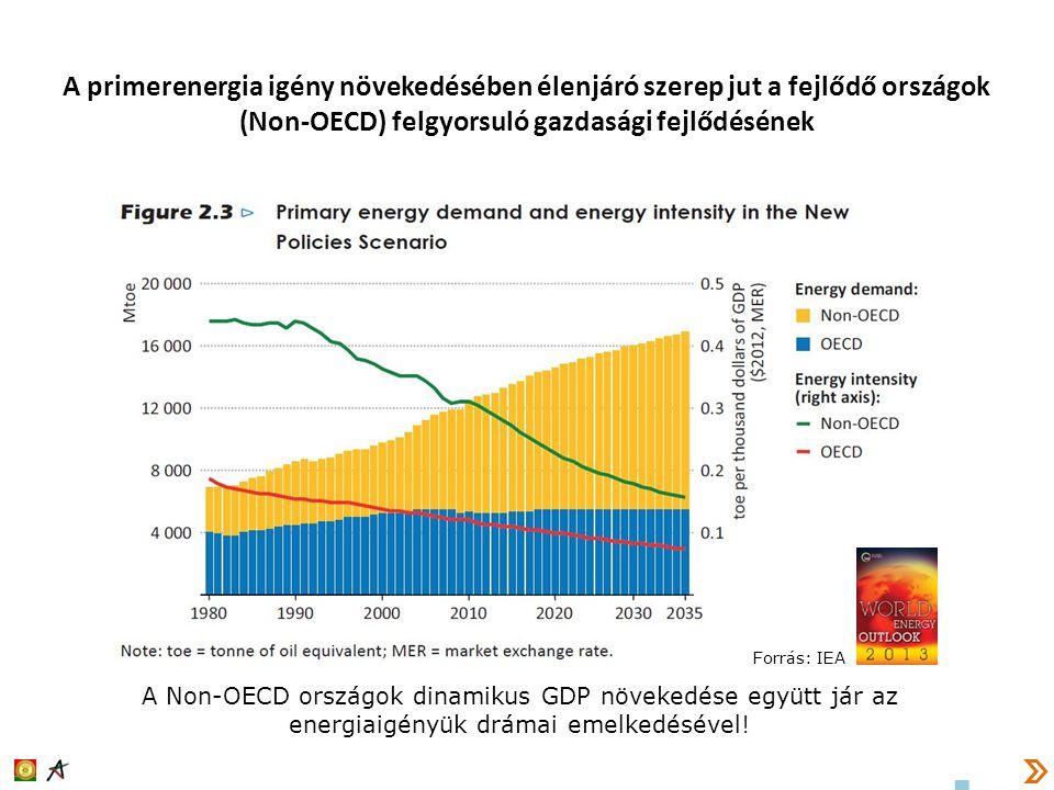 A primerenergia igény növekedésében élenjáró szerep jut a fejlődő országok (Non-OECD) felgyorsuló gazdasági fejlődésének
