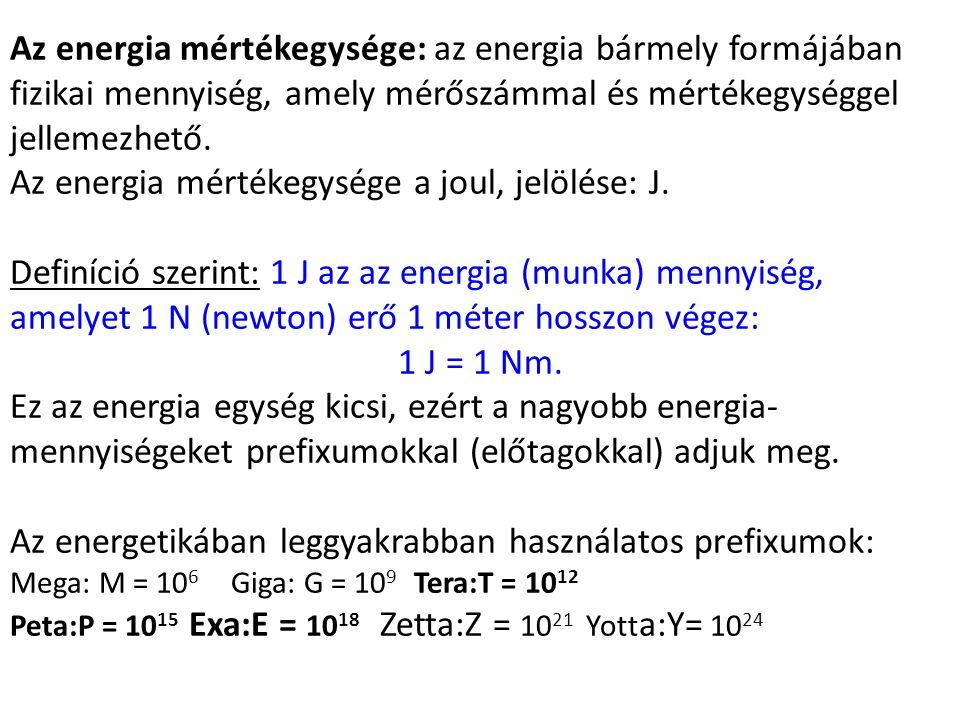 Az energia mértékegysége a joul, jelölése: J.