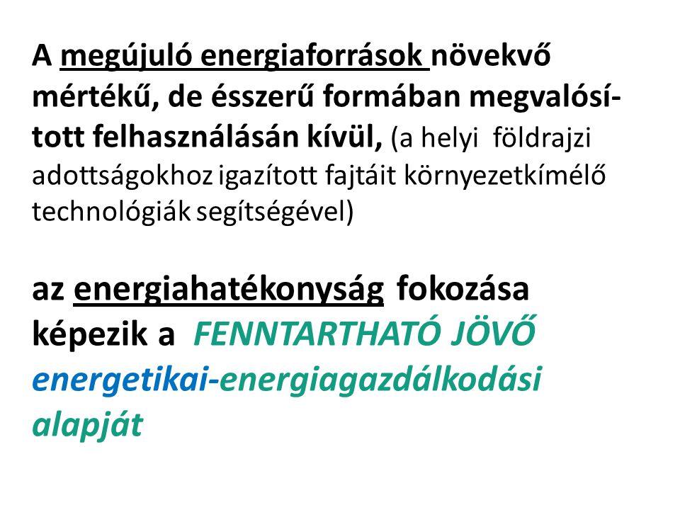 A megújuló energiaforrások növekvő mértékű, de ésszerű formában megvalósí-tott felhasználásán kívül, (a helyi földrajzi adottságokhoz igazított fajtáit környezetkímélő technológiák segítségével)