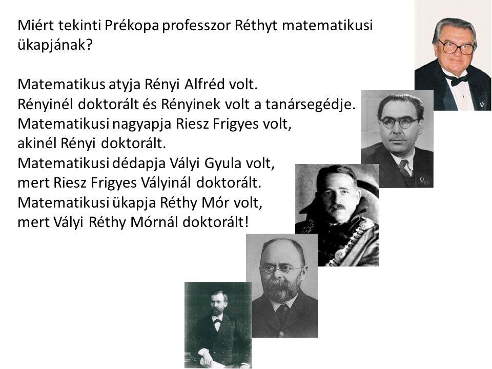 Miért tekinti Prékopa professzor Réthyt matematikusi ükapjának