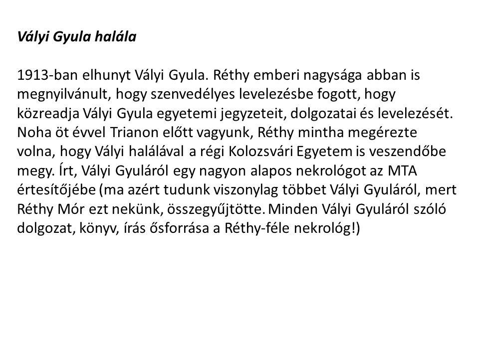Vályi Gyula halála