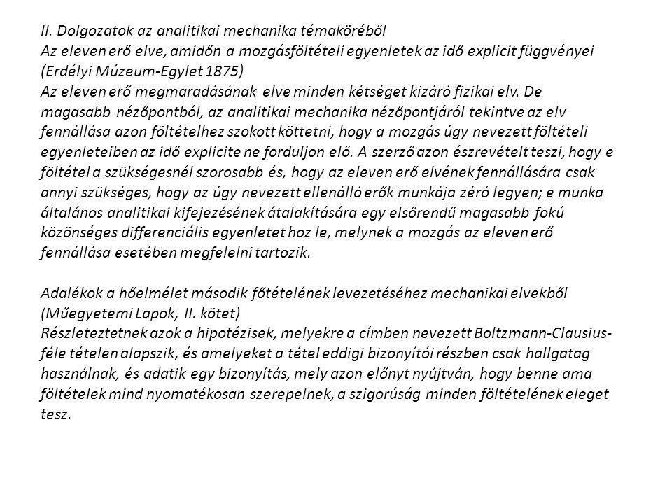 II. Dolgozatok az analitikai mechanika témaköréből