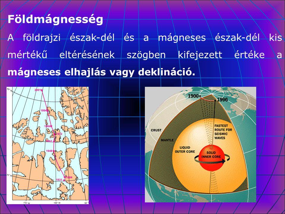 Földmágnesség A földrajzi észak-dél és a mágneses észak-dél kis mértékű eltérésének szögben kifejezett értéke a mágneses elhajlás vagy deklináció.