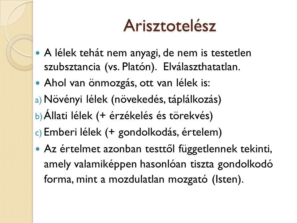 Arisztotelész A lélek tehát nem anyagi, de nem is testetlen szubsztancia (vs. Platón). Elválaszthatatlan.