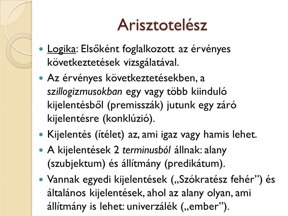 Arisztotelész Logika: Elsőként foglalkozott az érvényes következtetések vizsgálatával.