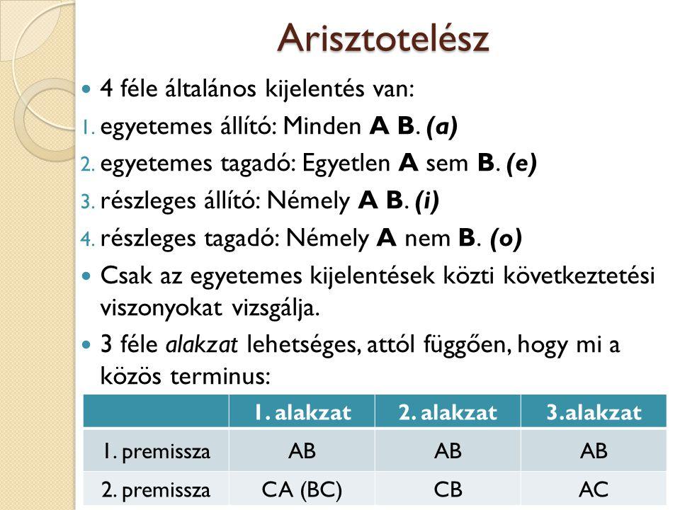 Arisztotelész 4 féle általános kijelentés van:
