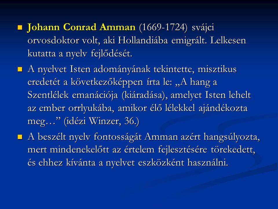 Johann Conrad Amman (1669-1724) svájci orvosdoktor volt, aki Hollandiába emigrált. Lelkesen kutatta a nyelv fejlődését.
