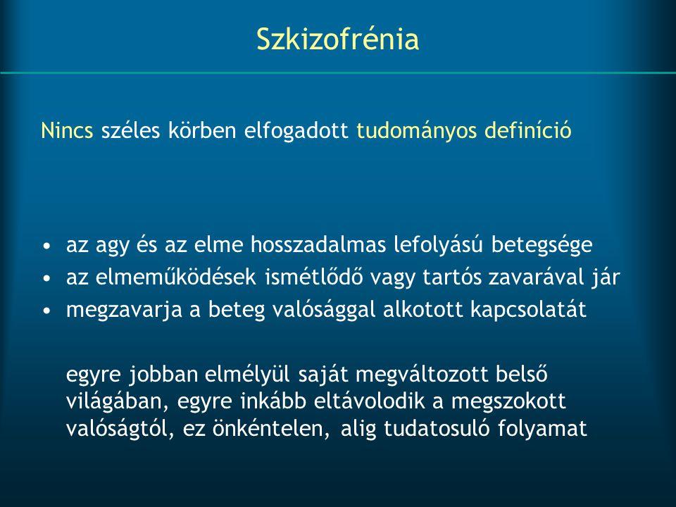 Szkizofrénia Nincs széles körben elfogadott tudományos definíció