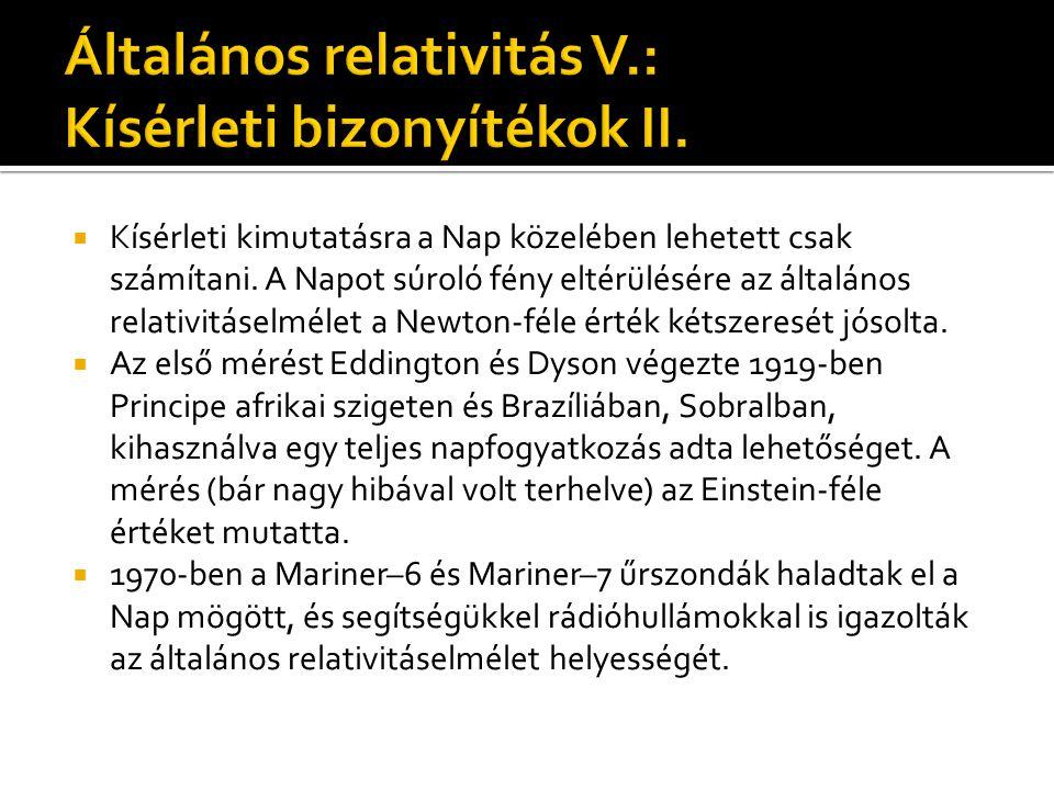 Általános relativitás V.: Kísérleti bizonyítékok II.