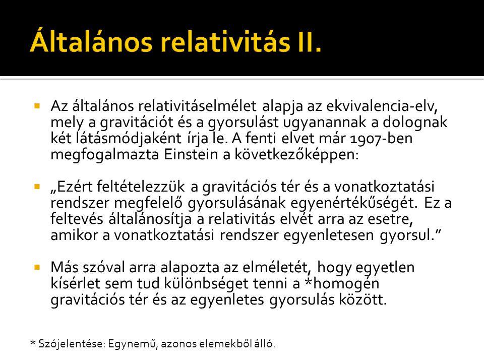 Általános relativitás II.