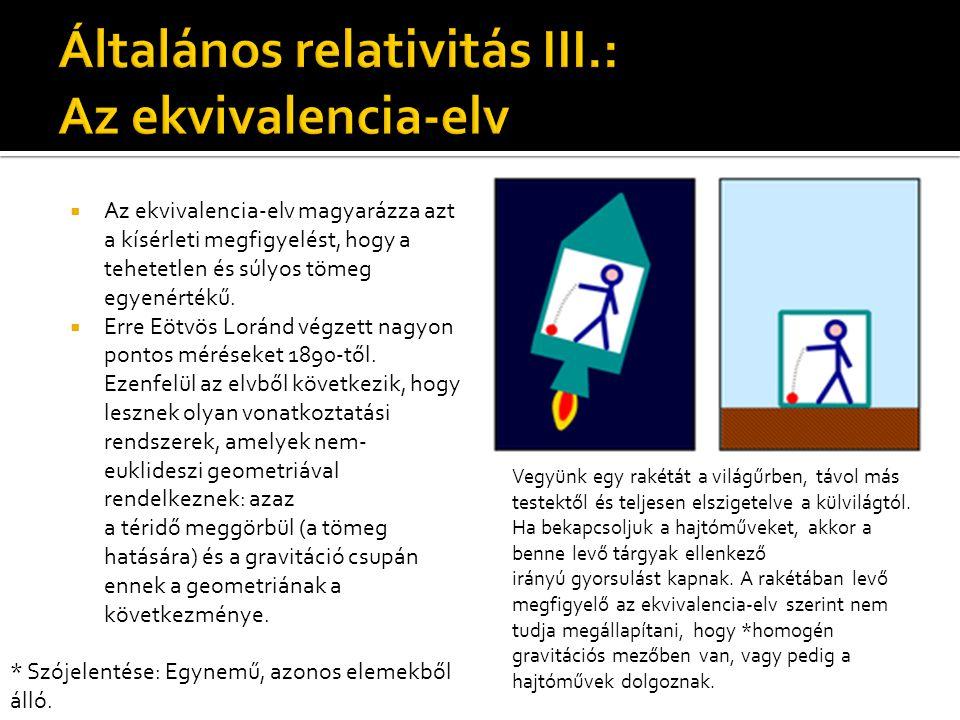 Általános relativitás III.: Az ekvivalencia-elv