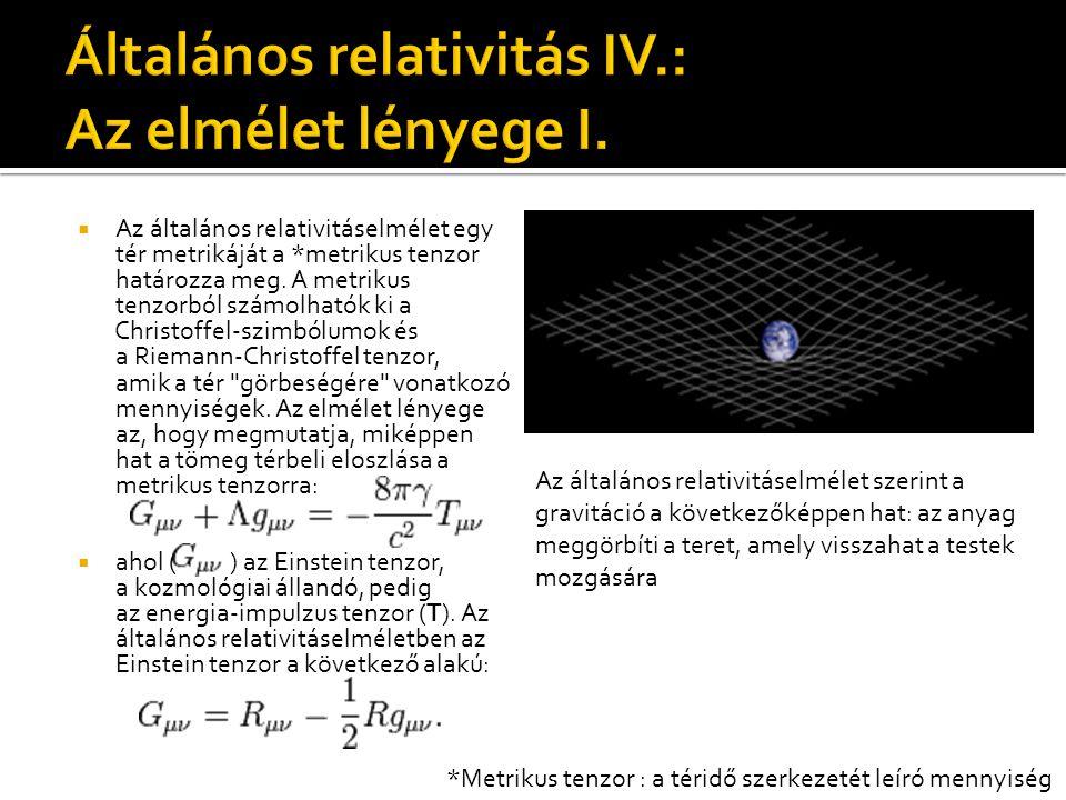 Általános relativitás IV.: Az elmélet lényege I.