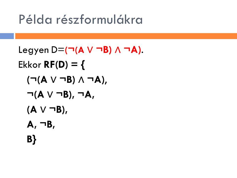 Példa részformulákra Legyen D=(¬(A ∨ ¬B) ∧ ¬A).