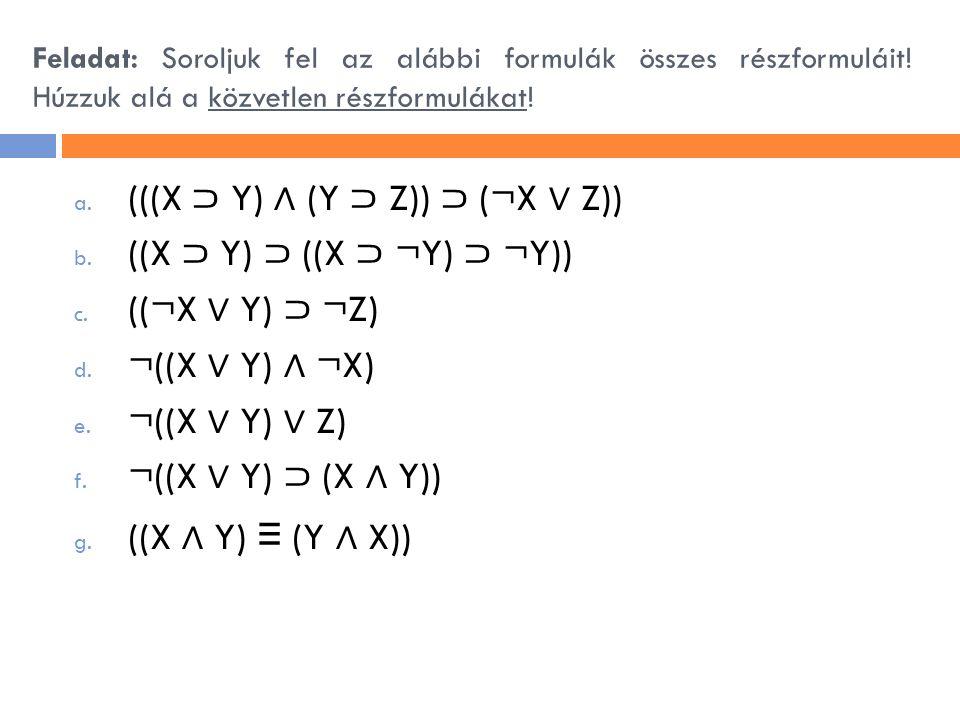 (((X ⊃ Y) ∧ (Y ⊃ Z)) ⊃ (¬X ∨ Z)) ((X ⊃ Y) ⊃ ((X ⊃ ¬Y) ⊃ ¬Y))
