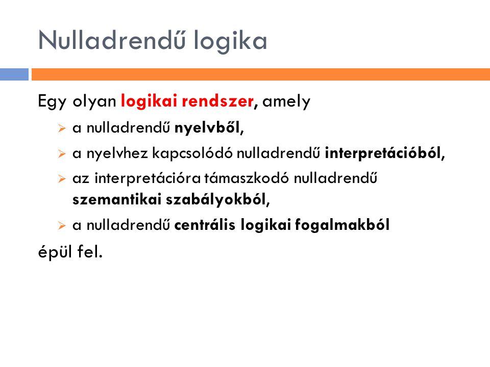 Nulladrendű logika Egy olyan logikai rendszer, amely épül fel.