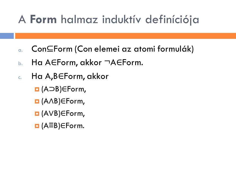 A Form halmaz induktív definíciója