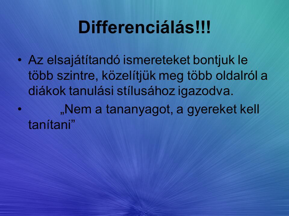 Differenciálás!!! Az elsajátítandó ismereteket bontjuk le több szintre, közelítjük meg több oldalról a diákok tanulási stílusához igazodva.