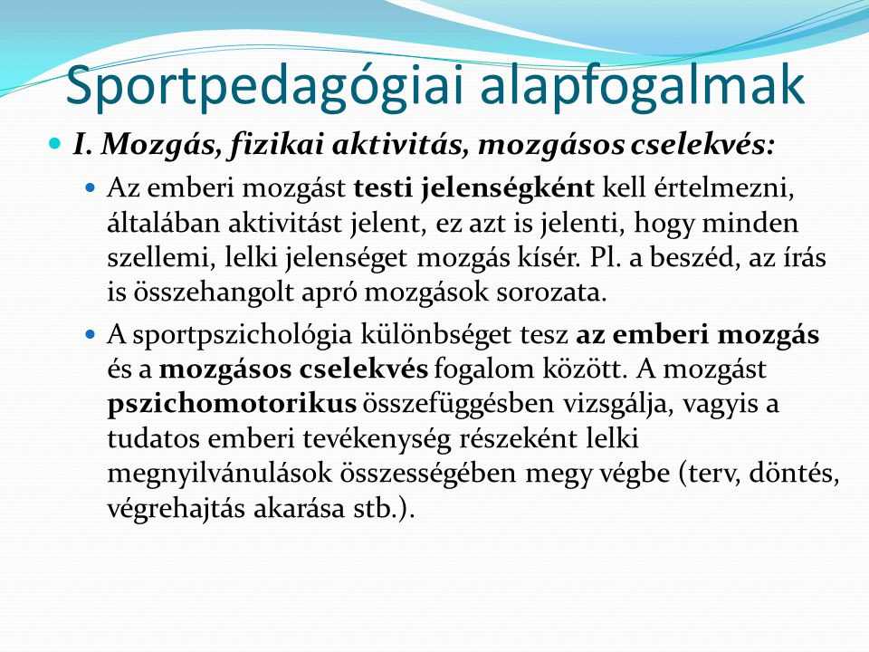 Sportpedagógiai alapfogalmak