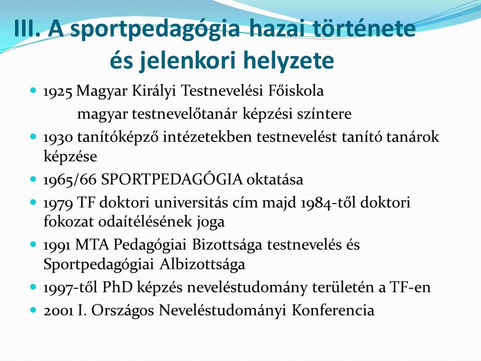 III. A sportpedagógia hazai története és jelenkori helyzete