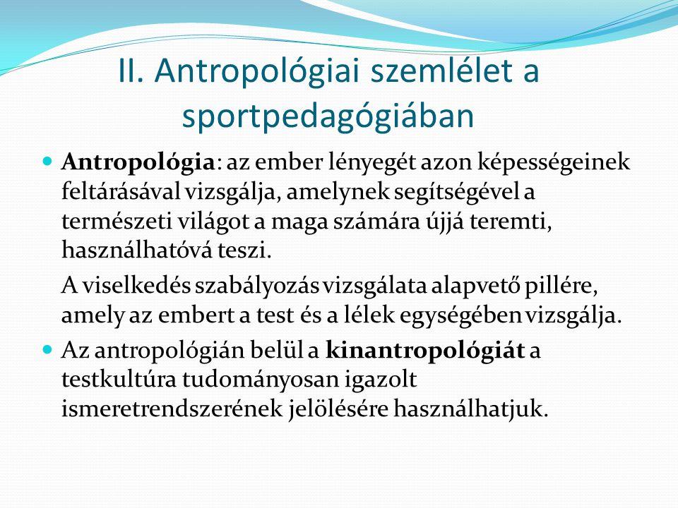II. Antropológiai szemlélet a sportpedagógiában