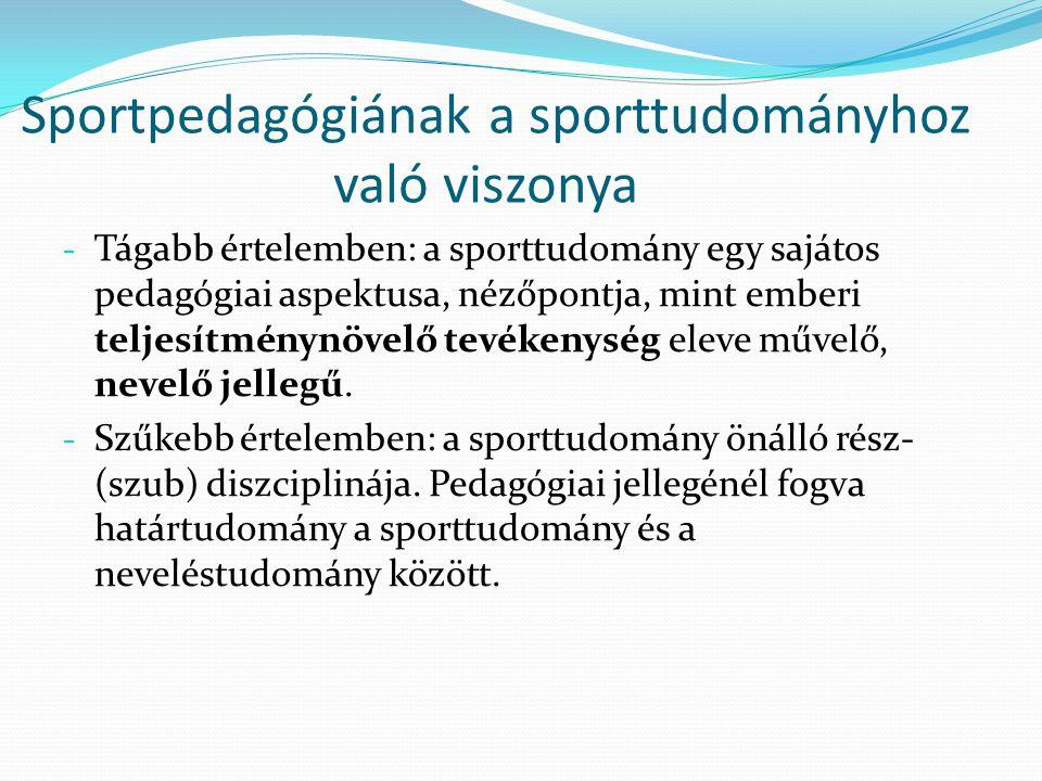 Sportpedagógiának a sporttudományhoz való viszonya