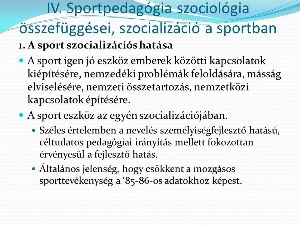 IV. Sportpedagógia szociológia összefüggései, szocializáció a sportban