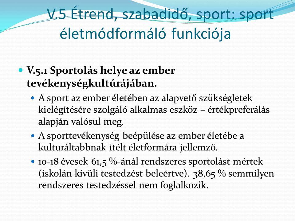 V.5 Étrend, szabadidő, sport: sport életmódformáló funkciója