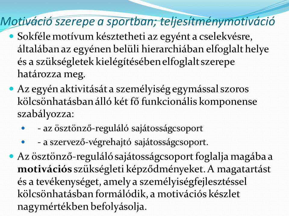 Motiváció szerepe a sportban; teljesítménymotiváció