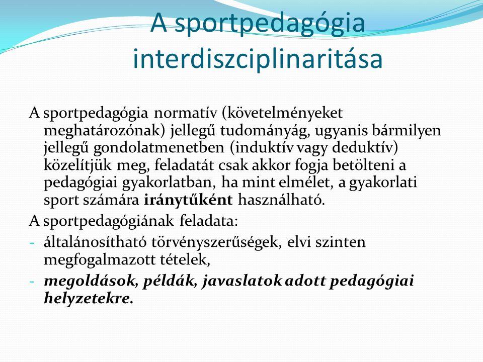 A sportpedagógia interdiszciplinaritása