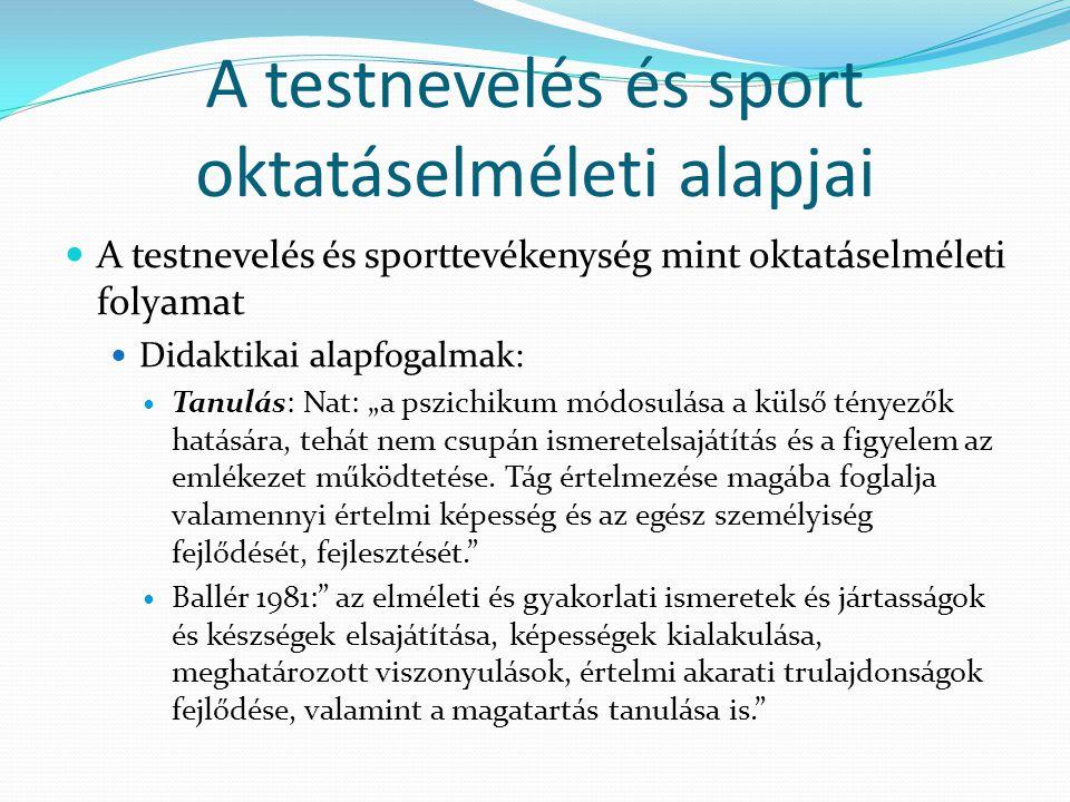 A testnevelés és sport oktatáselméleti alapjai