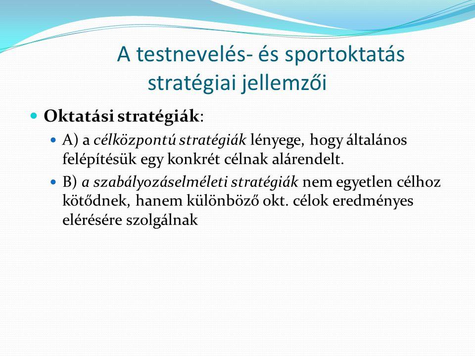 A testnevelés- és sportoktatás stratégiai jellemzői