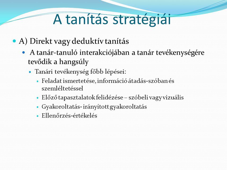 A tanítás stratégiái A) Direkt vagy deduktív tanítás