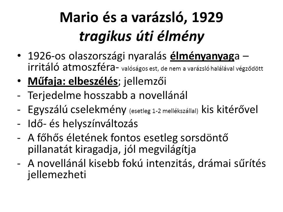 Mario és a varázsló, 1929 tragikus úti élmény