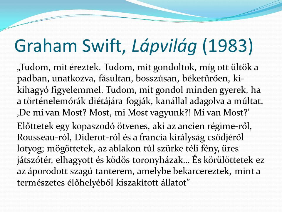 Graham Swift, Lápvilág (1983)