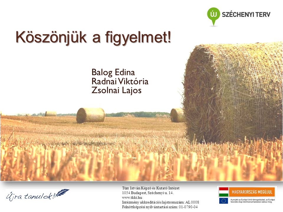 Köszönjük a figyelmet! Balog Edina Radnai Viktória Zsolnai Lajos