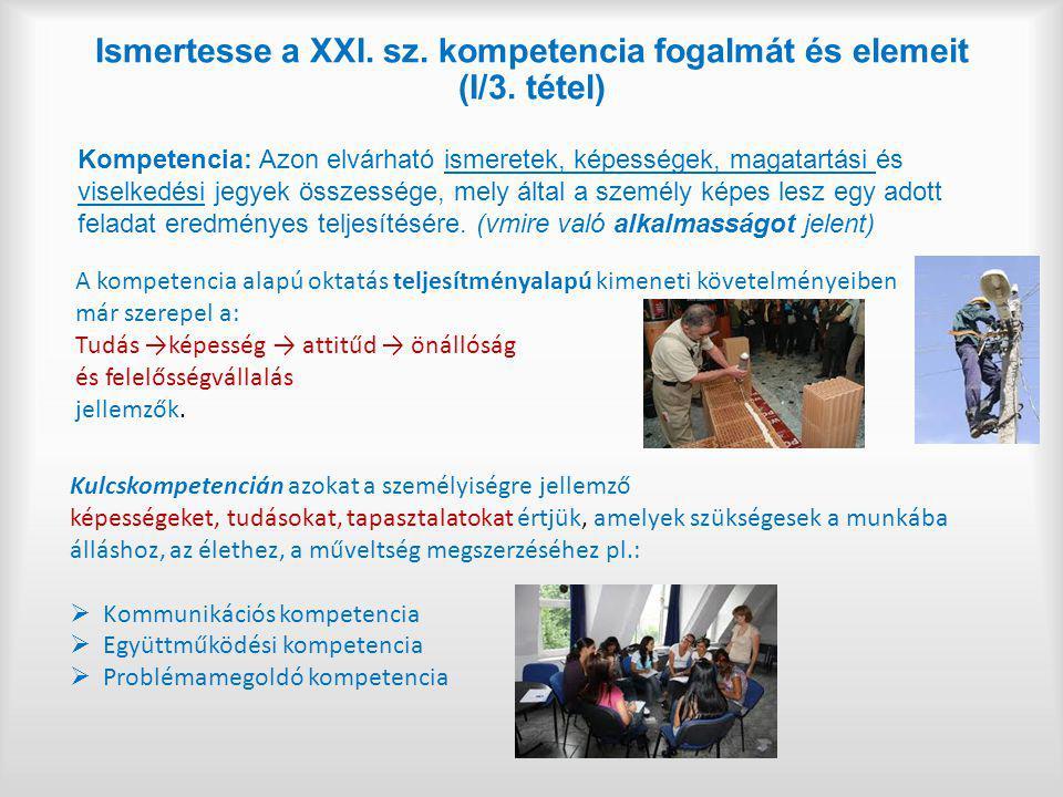Ismertesse a XXI. sz. kompetencia fogalmát és elemeit (I/3. tétel)