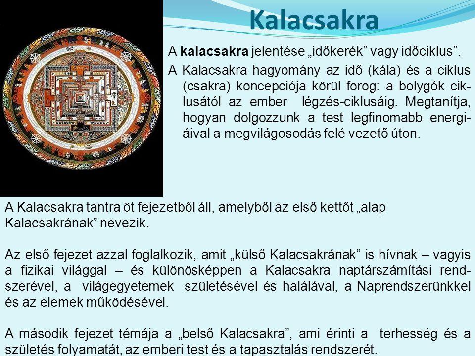 """Kalacsakra A kalacsakra jelentése """"időkerék vagy időciklus ."""