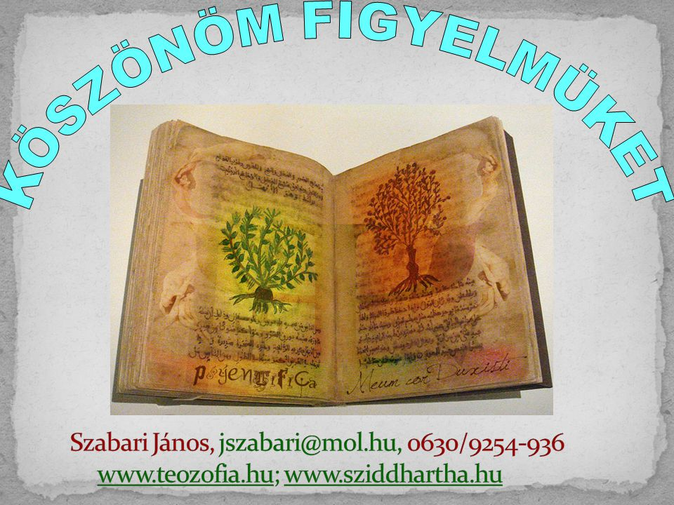 KÖSZÖNÖM FIGYELMÜKET Szabari János, jszabari@mol.hu, 0630/9254-936 www.teozofia.hu; www.sziddhartha.hu.
