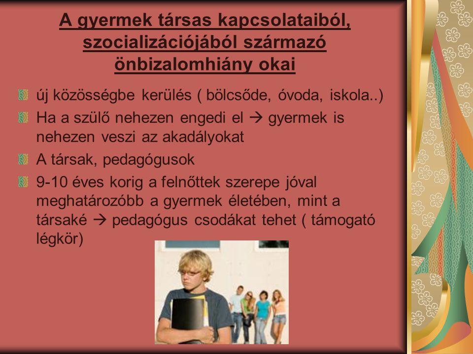 A gyermek társas kapcsolataiból, szocializációjából származó önbizalomhiány okai