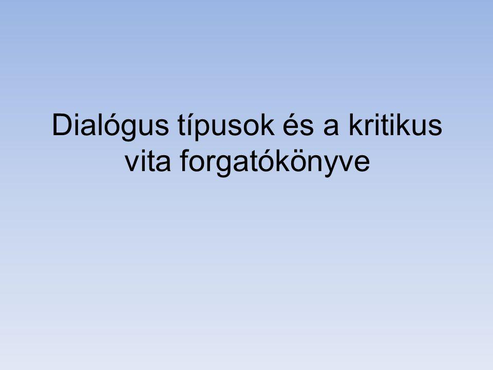 Dialógus típusok és a kritikus vita forgatókönyve