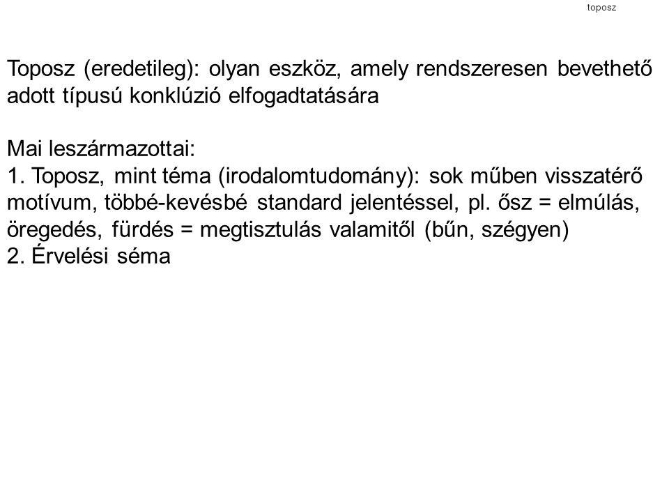 toposz Toposz (eredetileg): olyan eszköz, amely rendszeresen bevethető adott típusú konklúzió elfogadtatására.