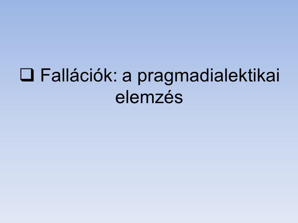 Fallációk: a pragmadialektikai elemzés