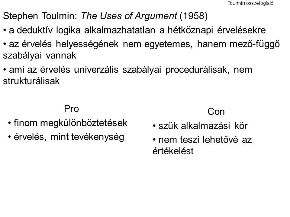 Stephen Toulmin: The Uses of Argument (1958)